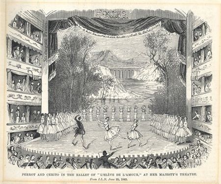 Perrot and Cerito in the Ballet of l'Eleve de L'Amour at Her Majesty's Theater c.1870