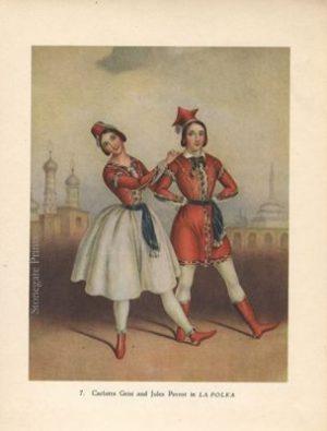 Vintage Dance Print Carlotta Grisi and Jules Perrot in La Polka 1938